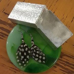 Black & White Polka Dot Feather Earrings